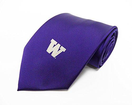 NCAA Washington Huskies Solid Single Logo Tie, One Size, Purple