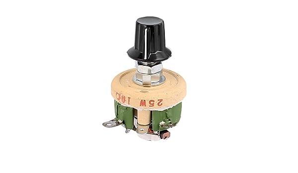 eDealMax a16031800ux2026 Bobinada potenciómetro de cerámica Ajustable reostatos Resistencia, 25 W 10 Ohm Con Perilla: Amazon.com: Industrial & Scientific