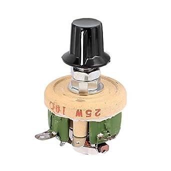eDealMax a16031800ux2026 Bobinada potenciómetro de cerámica Ajustable reostatos Resistencia, 25 W 10 Ohm Con Perilla