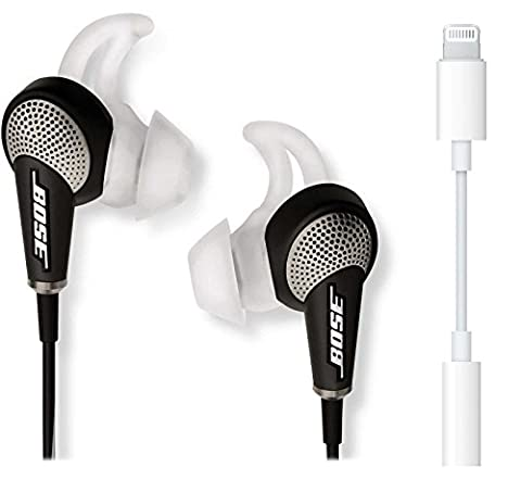 Bose QuietComfort 20 In-Ear Noise Cancelling Headphones for Apple Devices, Black Bundle with Lightning to 3.5mm (In Ear Noise Cancelling Bose)
