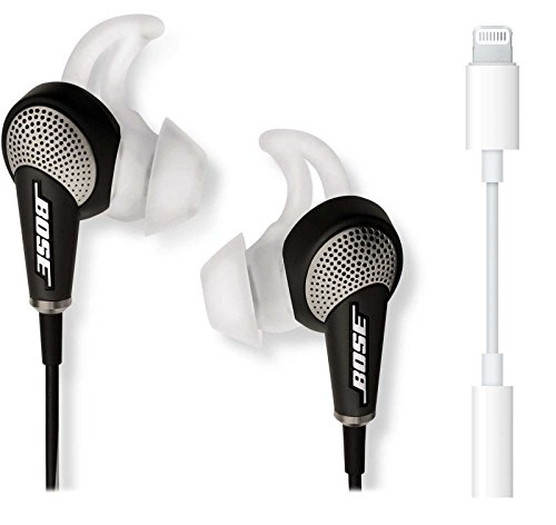 Bose QuietComfort 20 In-Ear Noise Cancelling Headphones for Apple Devices, Black Bundle with Lightning to 3.5mm Adapter