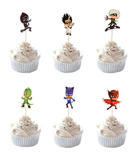 Birthday Party Cupcakes - Party Hive 24pc PJ Mask Cupcake Toppers for Birthday Party Event Decor