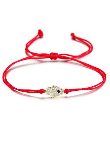 Wistic Hamsa Evil Eye Adjustable Bracelet Kabbalah Silver String Bracelet for Women Men Girls Boys (red Hamsa) ()