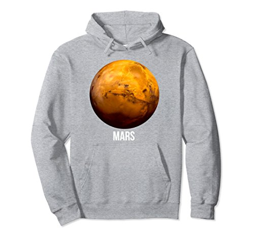 Unisex Mars Red Planet Astronomy Science Space Galaxy Fan Hoodie Medium Heather Grey
