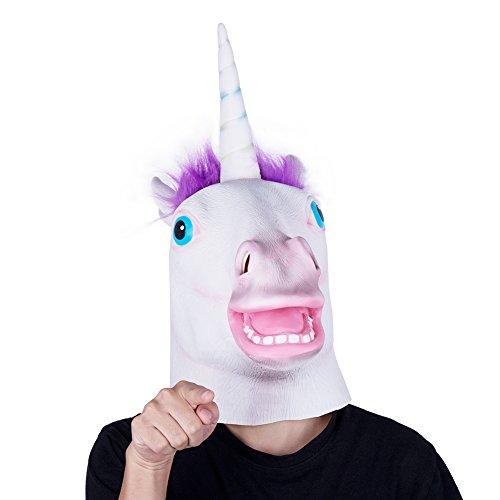 Justitek Halloween Costume Halloween Mask Latex Adult Size (Purple) (Unicorn Halloween Costume Adults)