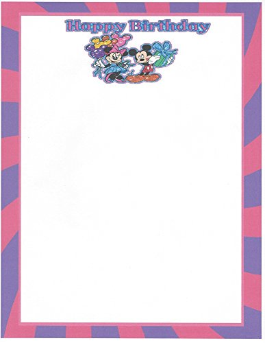 Mickey & Minnie Mouse Happy Birthday Stationery Printer Paper 26 Sheets