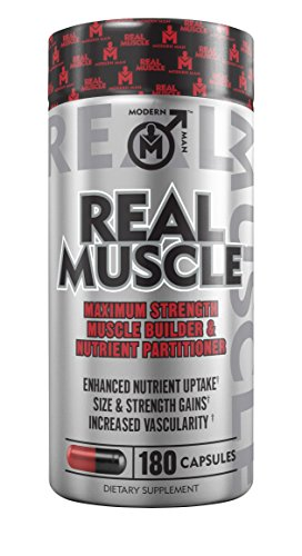 REAL MUSCLE - Muscle Building Testosterone Booster for Men, Nitric Oxide Mass Builder Supplement, Creatine HCL & L-Carnitine Nutrient Partitioning Weight Gainer Pills, 180 Capsules / 30 Day Cycle (Building Muscle Supplement Stacks)