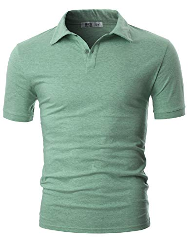 OHOO Mens Slim Fit Short Sleeve Cotton Pique Polo Shirt/DCP061-GREEN-S