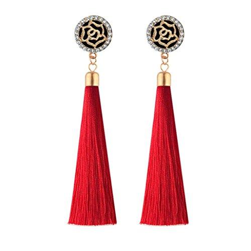 Dangling Quartz Earrings (Celendi_Jewelry Fashion Tassel Earrings Bohemian Long Rose Flower Dangling Earrings for Women)