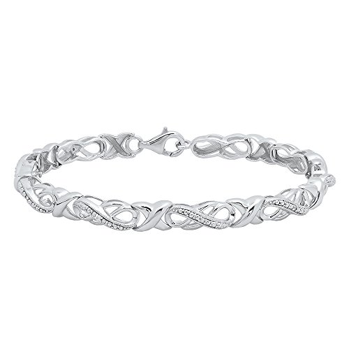 0.05 Carat (ctw) Sterling Silver Round White Diamond Ladies Infinity Tennis Link Bracelet
