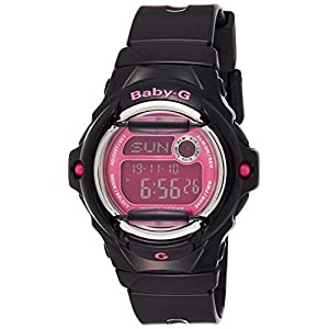Casio Women's Baby G Quartz 200M WR Shock Resistant Resin Color: Black with Pink Face (Model BG-169R-1B)