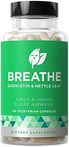 Breathe Sinus & Lungs Breathing – Seasonal Nasal Health, Open and Clear Airways, Bronchial Wellness, Healthy Chest – Quercetin, Nettle Leaf, Bromelain Pills – 60 Vegetarian Soft Capsules