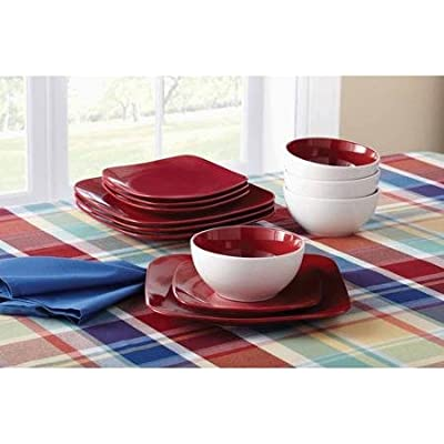 Click for Mainstays 12-Piece Medium Square Dinnerware Set, Red Sedona
