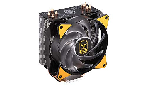 Cooler Master MasterAir MA410P TUF Gaming Edition RGB CPU Air Cooler w/ TUF Aesthetic, Independently ARGB LEDs, 4 Continuous Direct Contact 2.0 Heatpipes, Aluminum Fin, MF120R 120mm RGB Fans (Best Gaming Cpu Coolers)