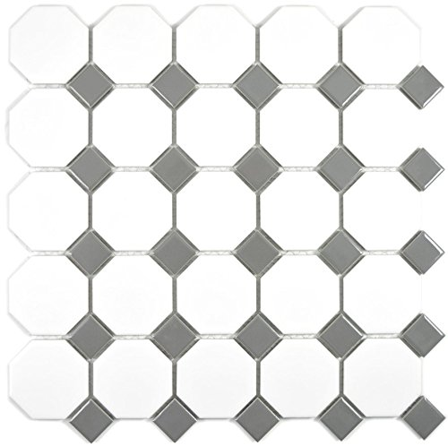 Mosaic tile ceramic metal grey octagon white matt metal glossy for wall bathroom toilet shower kitchen tile mirror…