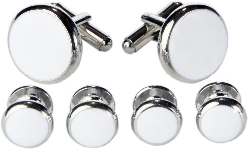 Cufflinks and Studs Set For Tuxedo- Classy Gift Box Included (White With Silver Trimming)