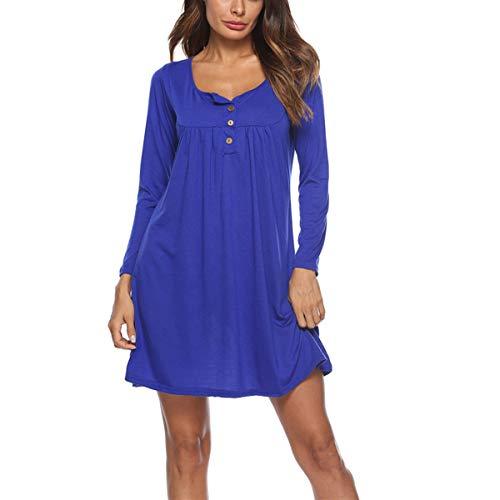O Vestido Vestidos Hvzciuwrn Plisado Cuello Color Tunic Loose Mini Camiseta Swing L Larga Azul tamaño Botón Manga x717w4