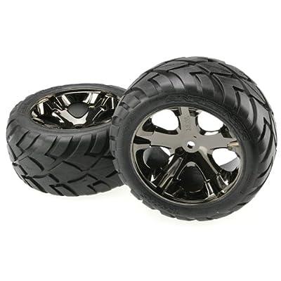 Traxxas 3773A Anaconda Tires Pre-Glued on All Star black chrome wheels (pair): Toys & Games