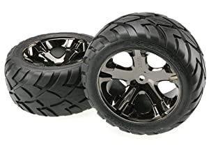 Traxxas 3773A Anaconda Tires Pre-Glued on All Star black chrome wheels (pair)