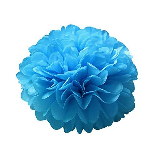 Ruddyin Home Deco 5pcs 6''-12'' Tissue Paper Pompoms Wedding Decorative Paper Flowers Ball Baby Shower Birthday Party Decoration Paper pom poms,Blue,20cm 8inch