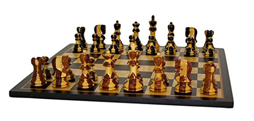 WorldWise Chess Set with Birdseye Maple Board - 37SI-BBM Chess Set Inlaid Wood Frame