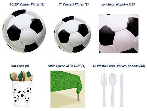 Soccer Party Complete Party Supply Bundle (Serves 8): 8 Dinner & 8 Dessert Plates, 16 Napkins, 8 Cups, Table Cover, Cutlery (16 knives, 16 forks, 16 spoons) - 89 Pieces Total