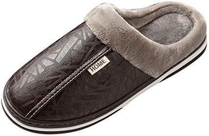 RUHI Women's Men's Shoes Fluffy Fleece Lined Waterproof Leather Face Anti-Slip House Slippers Unisex for Winter – The Super Cheap