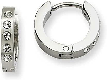 Chisel Stainless Steel CZ Hinged Hoop Earrings