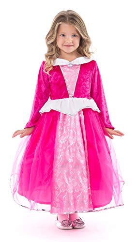 Little Adventures Deluxe Sleeping Beauty Hot Pink Princess Dress Up Costume (Large Age 5-7) -