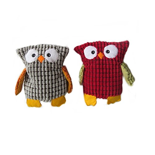 Stock Show 2Pcs Pet Corduroy Plush Squeaky Toy Cute Cartoon Owl Shape Dog Chew Toy Dog Teeth Cleaning Stuffed Biting Playtoy for Small Medium Dog Puppy Pup