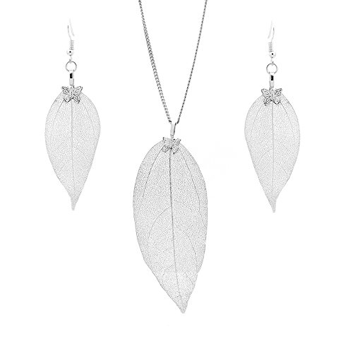 C&L Accessories C&L Real Natural Leaf Earring Necklace Set Heart Nacklace for Women Girls (Silver) by C&L Accessories