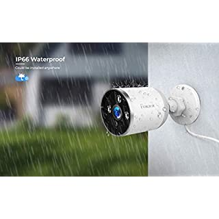 Outdoor Security Camera WiFi Surveillance System 1080P HD Bullet Camera Motion Detection, Waterproof IP66 Night Vision, 2-Way Audio, Theft-Deterrent Alarm with Cloud Storage/TF Slot