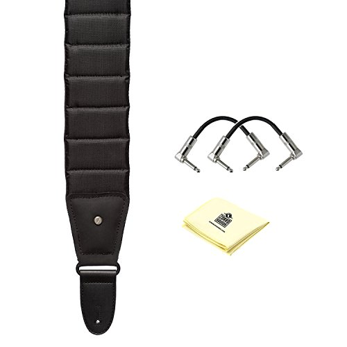 Mono M80-BTY-BLK-S-U Betty Guitar Strap in Black with (2) S6P48 R-Angle Patch Cables and Zorro Sounds Custom Designed Instrument Cloth ()
