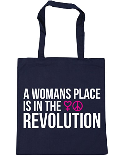 HippoWarehouse A Womans Place Is In The Revolution Tote Shopping Gym Beach Bag 42cm x38cm, 10 litres French Navy