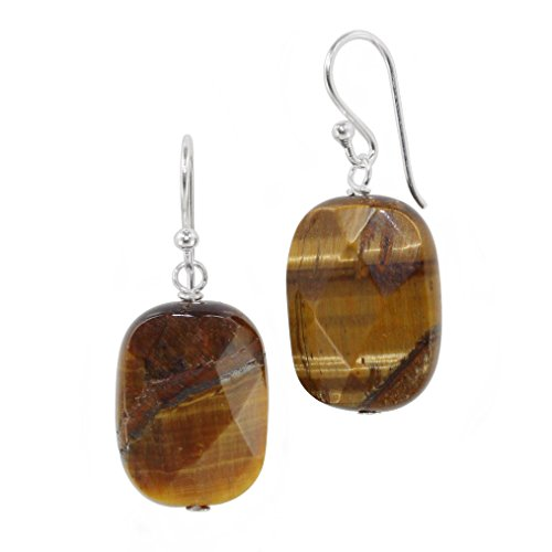 Cushion Cut Stones and Sterling Silver Earrings, Tiger's (Dangling Tigers Eye Necklace)