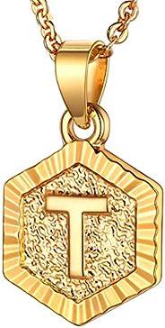 U7 Initial Letter Pendant Halo Square/Hexgon Tag Monogram Charm 18K Gold/Platinum Plated Cooper Based Name Nec