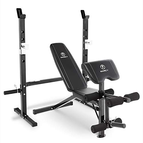 (Marcy 2-Pc Olympic Weight Bench with bar Catches, Leg Developer & Preacher Curl Pad MWB-60205)