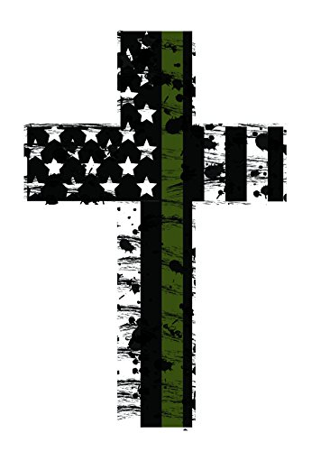 Iraq War Pin (Thin Green Line Crosses (2) Subdued Us Flag Reflective Decal.)