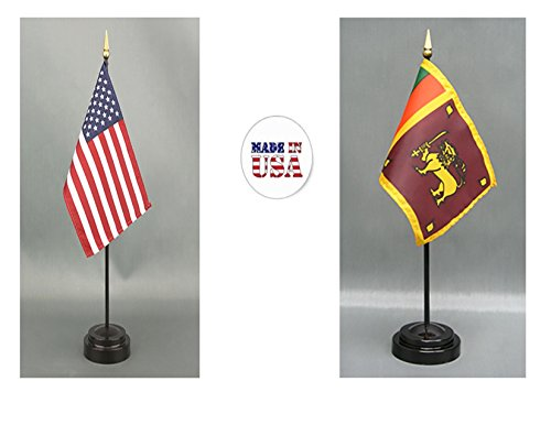 "Made in The USA. 1 American and 1 Sri Lanka Rayon 4""x6"" Miniature Office Desk & Little Hand Waving Table Flag, Includes 2 Flag Stands & 2 Small 4""x6"" Mini Stick Flags"