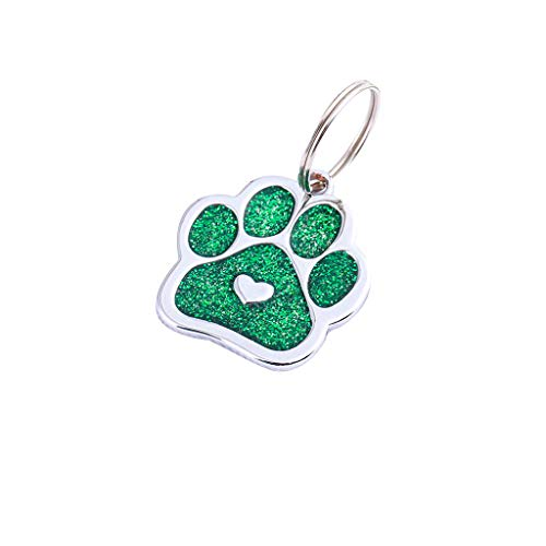 Islandse_pet Paw Print Cute Mini More Diamond Dog Cat ID Name Tags Pet Jewelry Necklace (Green)