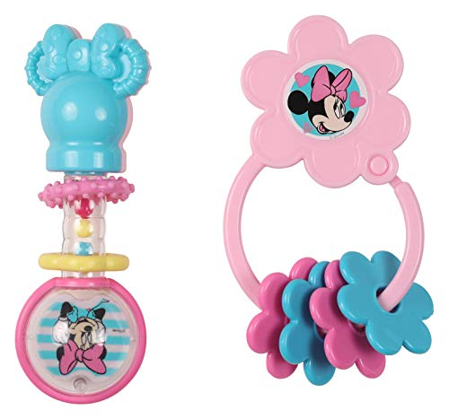 Disney Minnie Mouse Combo Pack Barbell Rattle & Keyring Teether, Minnie ()