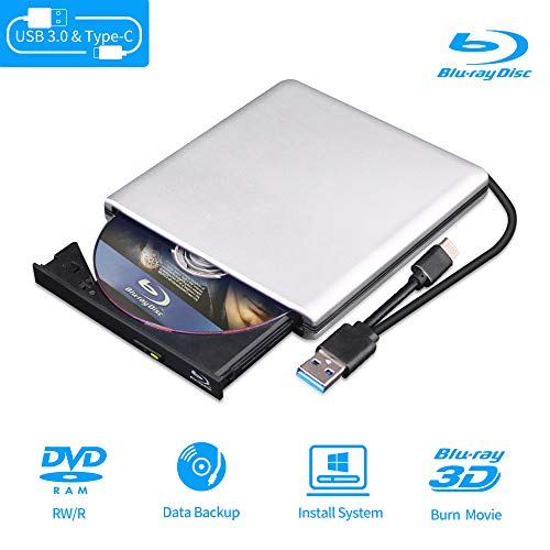 External Blu Ray DVD Drive 3D Player, USB 3.0 and Type-C Bluray CD DVD Burner Player Rewriter Reader Compatible for MacBook OS Windows xp/7/8/10,Linxus, Laptop PC (Silver-Grey)