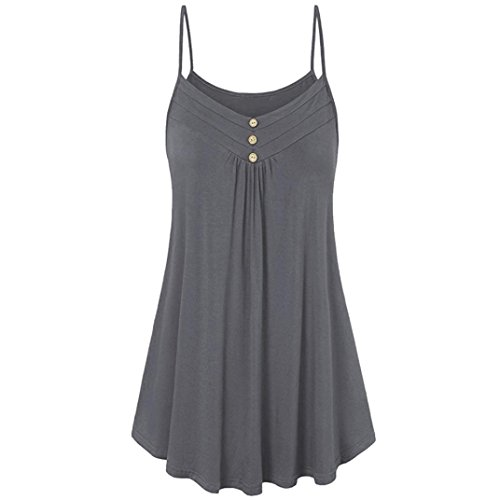 Button Tank In Grey - UONQD Woman Women Summer Loose Button V Neck Cami Tank Tops Vest Blouse