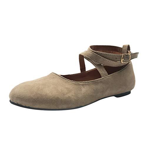 Toimothcn Ballerina Shoes, Women's Classic Flats Crossing Buckle Straps Casual Sandals Yoga Shoes(Khaki,US:7.5)]()