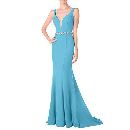 Charmant Lang Partykleider V Ballkleider Steine Pink Meerjungfrau Abendkleider Blau Wunderschoen Damen Ausschnitt rxAFrq