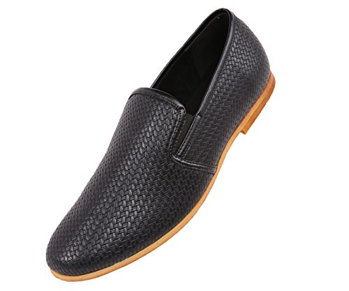Amali Mens Dress Casual Loafers in Woven Embroidered Designs Woodlike Sole Styles Trey, Trap, Harmon Black