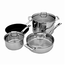 MIU France 7-Piece Stainless Steel Copper Core Cookware Set, Silver