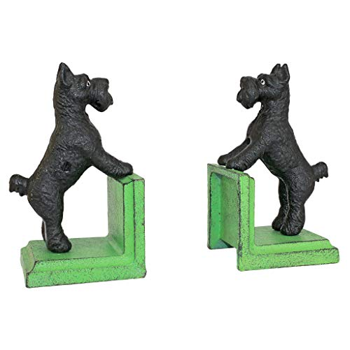 Design Toscano Over The Over The Fence Scotty Dog Cast Iron Sculptural Bookend Pair, Full -