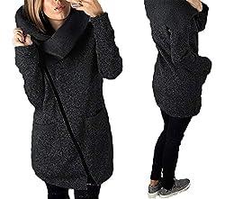 Cyose Fashion Women Jacket Solid Color Long Sleeve Coat Diagonal Zipper Turndown Collar Lady Casual Outwear Dark Gray Xl
