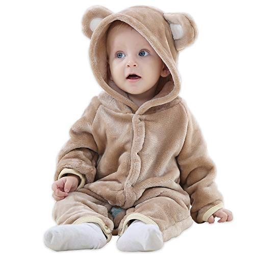 (HALLO Baby Girls Boys Romper Bear Style Jumpsuit Outfit Hoody Coat Autumn & Winter Clothes Infant Rompers Toddler Clothing Brown 2-5 Months )
